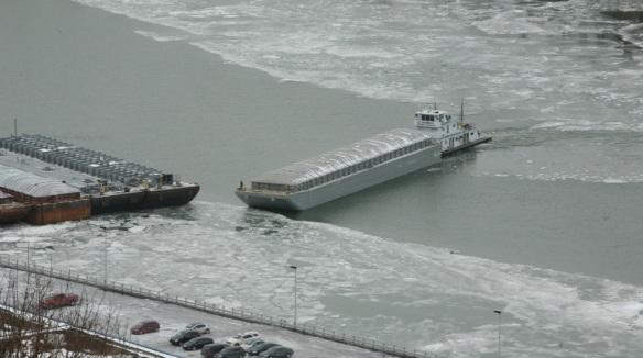 Barge Turning on Ohio River